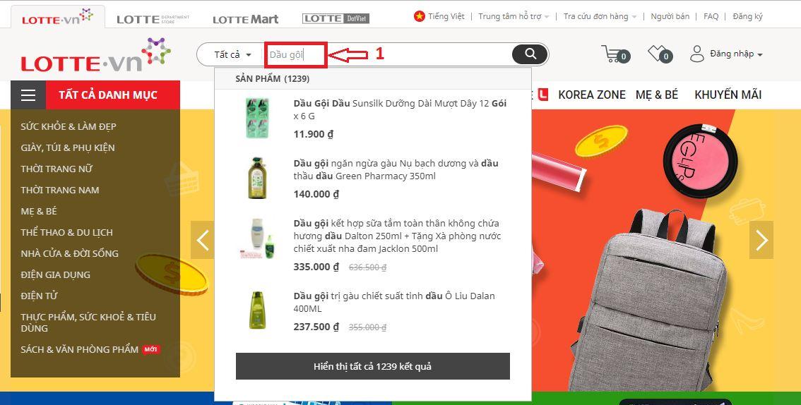 Hướng dẫn đặt hàng tại Lotte.vn