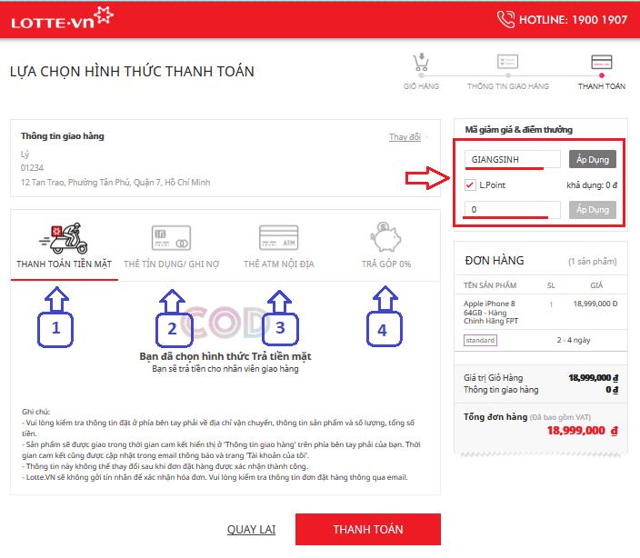 Hướng dẫn thanh toán nhập mã giảm giá lotte.vn