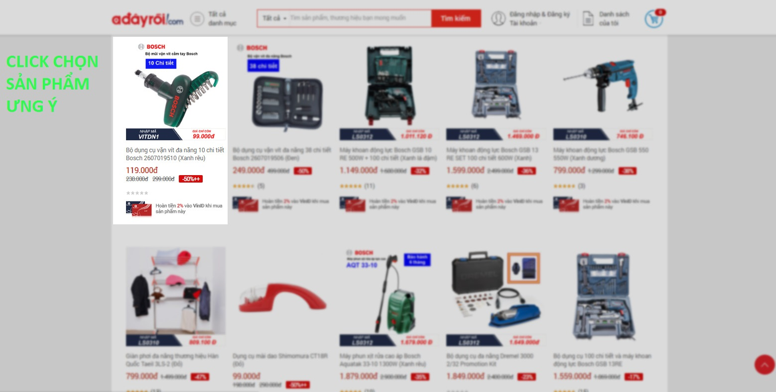 hướng dẫn bước 2 chọn sản phẩm ưng ý trong 7 bước mua hàng trên adayroi