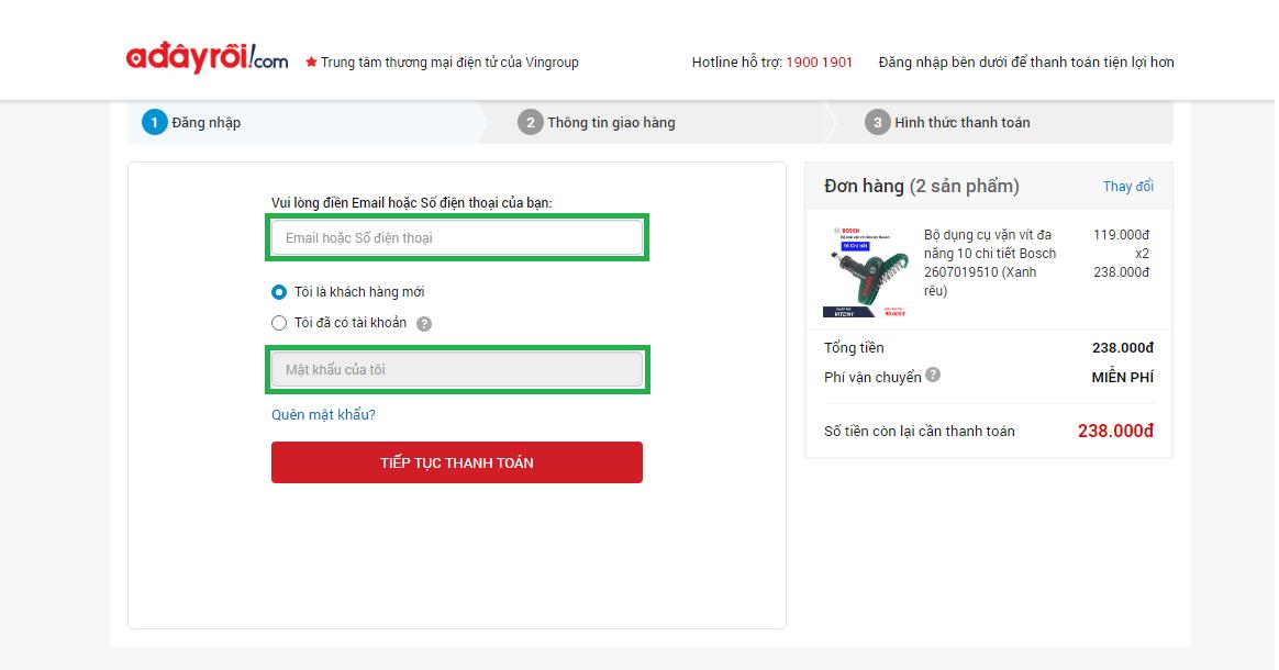 hướng dẫn bước 5 đừng quên đăng nhập trong 7 bước mua hàng trên adayroi