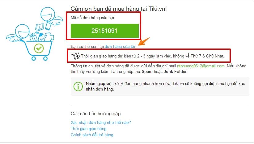 Hướng dẫn mua hàng Tiki kiểm tra và xác nhận đơn hàng
