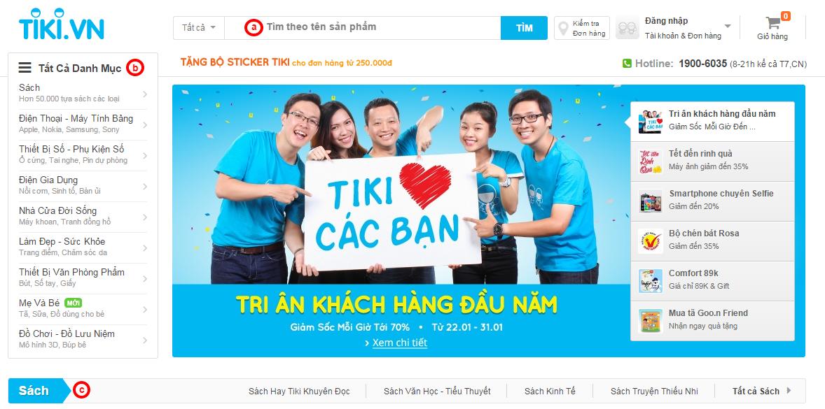 Hướng dẫn mua hàng Tiki.vn tìm kiếm sản phẩm