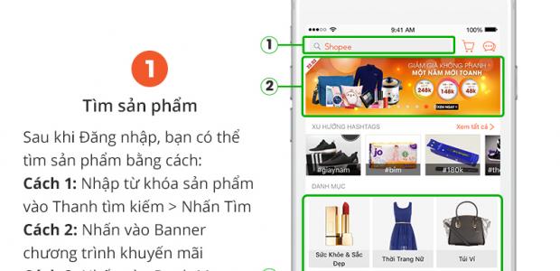 Hướng dẫn mua hàng bước tìm sản phẩm shopee vn
