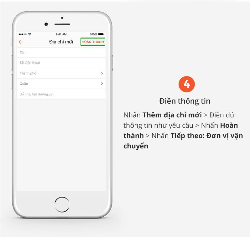 Hướng dẫn mua hàng trên App Shopee bước điền thông tin shopee vn
