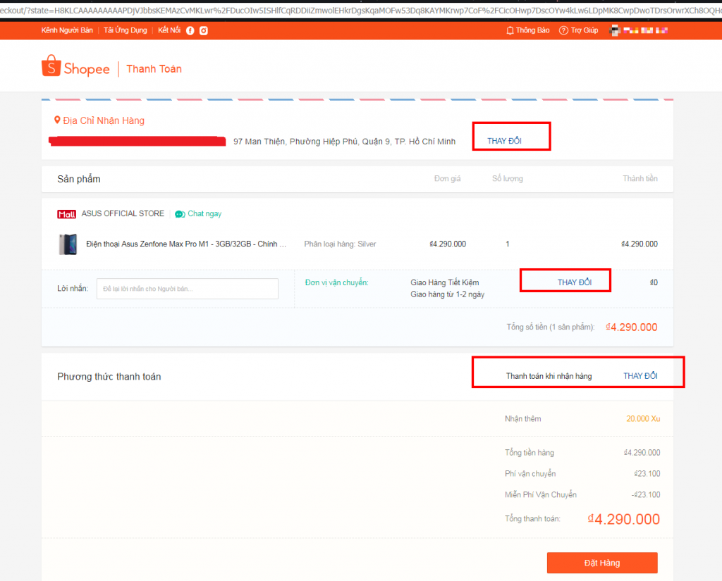 Hướng dẫn mua hàng trên Shopee kiểm tra địa chỉ giao hàng, nhập mã giảm giá