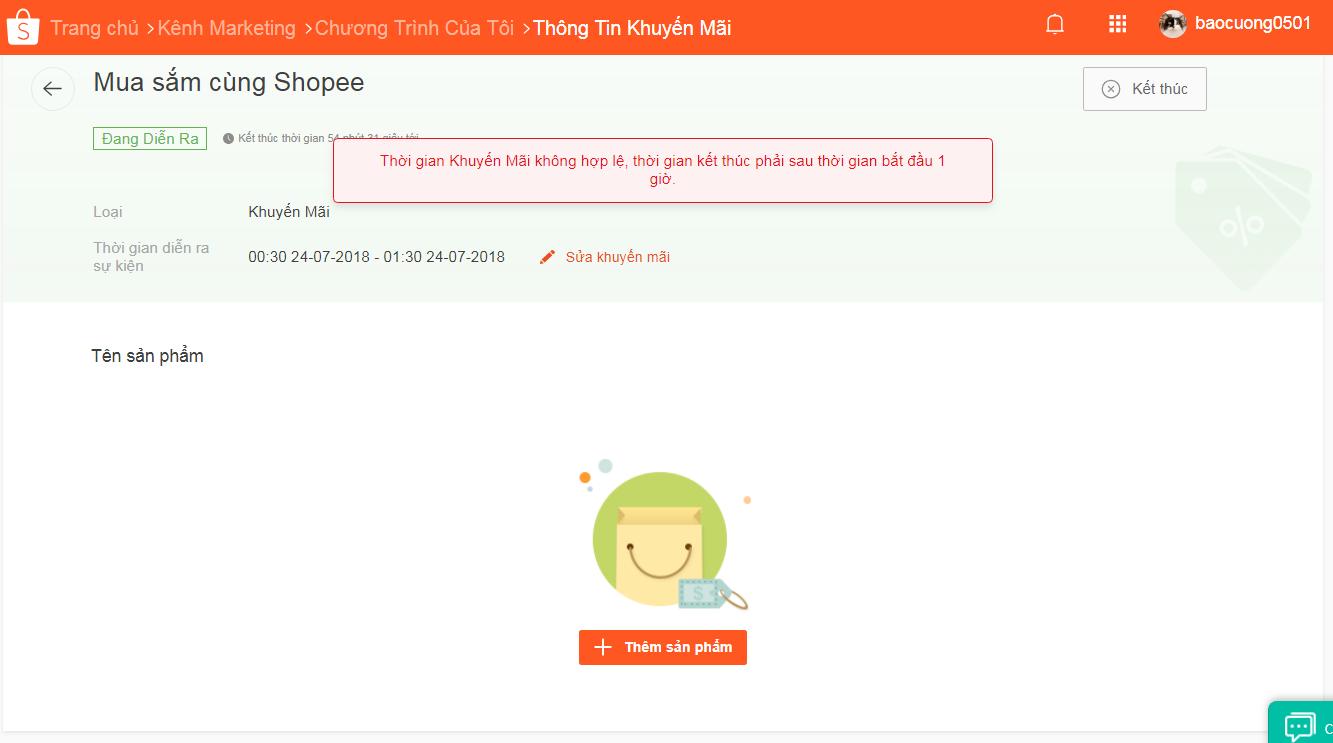 Hướng dẫn tạo mã giảm giá trên Shopee cho cửa hàng bước kết thúc chương trình sớm