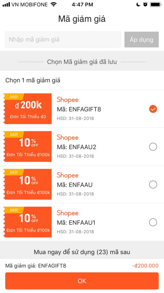 Cách nhập mã giảm giá Shopee chọn mã giảm giá trên ứng dụng Shopee