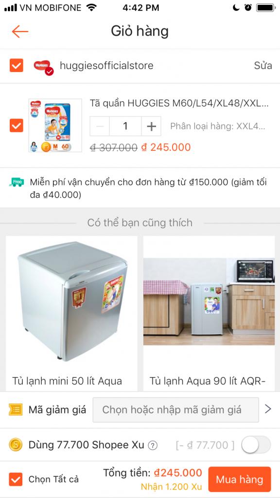 Cách nhập mã giảm giá Shopee chọn nút mua hàng trên ứng dụng shopee
