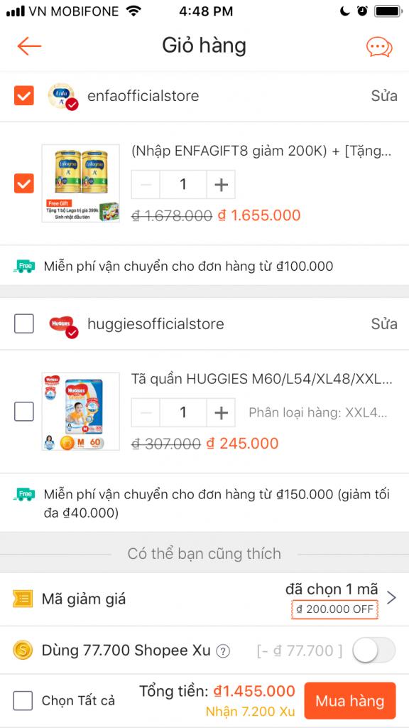 Cách nhập mã giảm giá Shopee giảm giá shopee trên ứng dụng Shopee