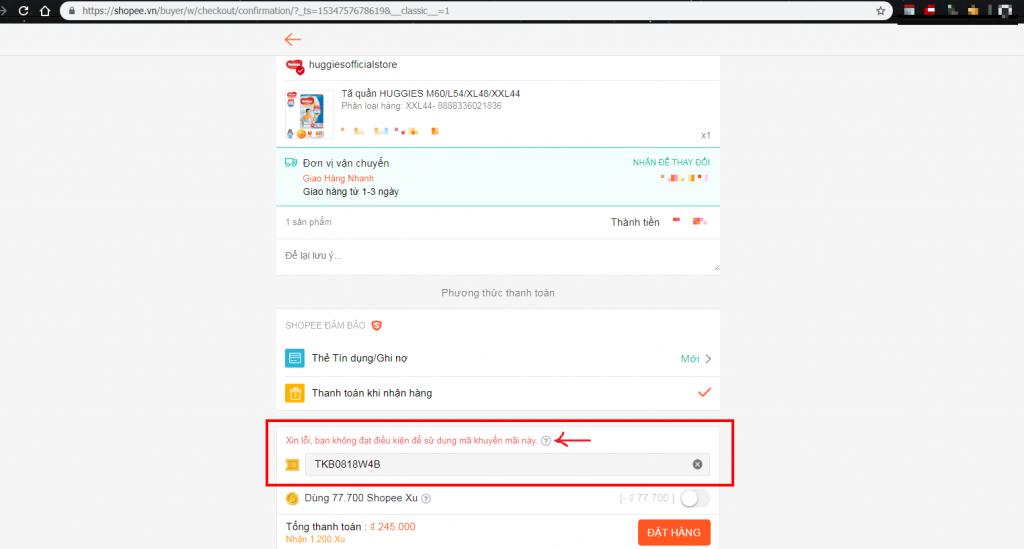 Cách nhập mã giảm giá Shopee bước nhập mã giảm giá trên web