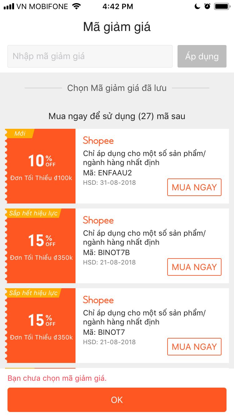 Cách nhập mã giảm giá Shopee thêm mã giảm giá trên ứng dụng Shopee