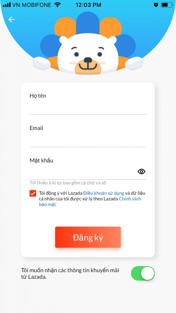 Hướng dẫn mua sắm trên Lazada App Đăng kí tài khoản bằng Email