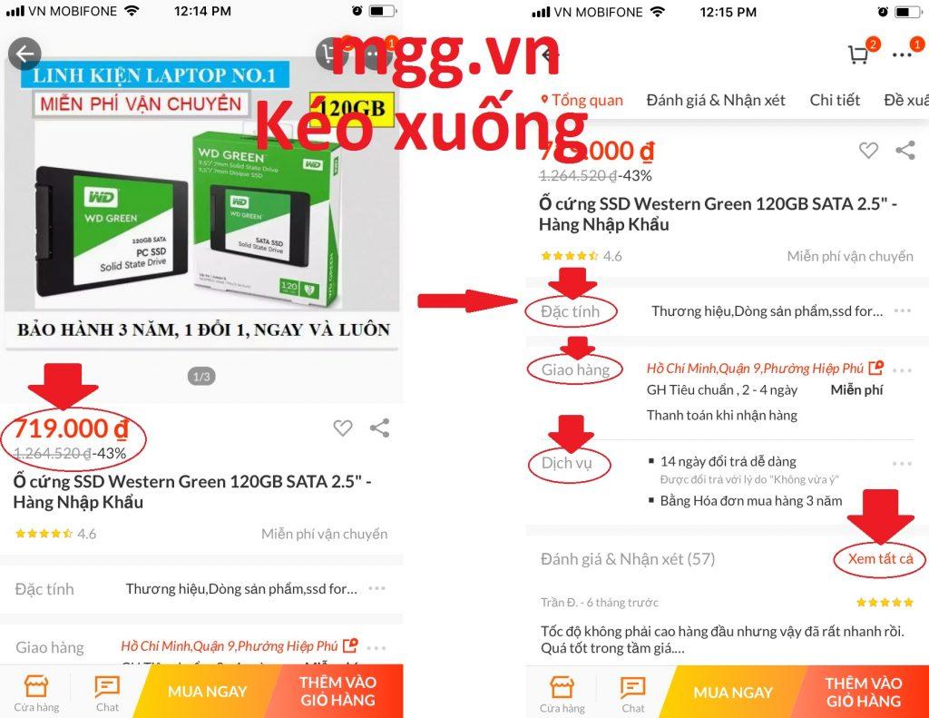 Hướng dẫn mua sắm trên Lazada App xem thông tin sản phẩm