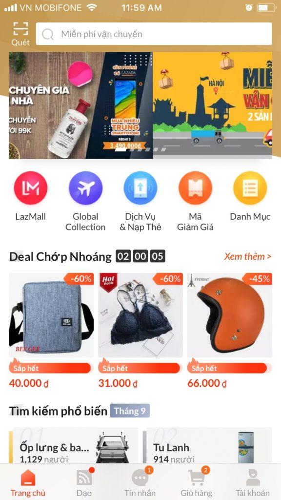 Hướng dẫn mua sắm trên Lazada App đăng nhập tài khoản