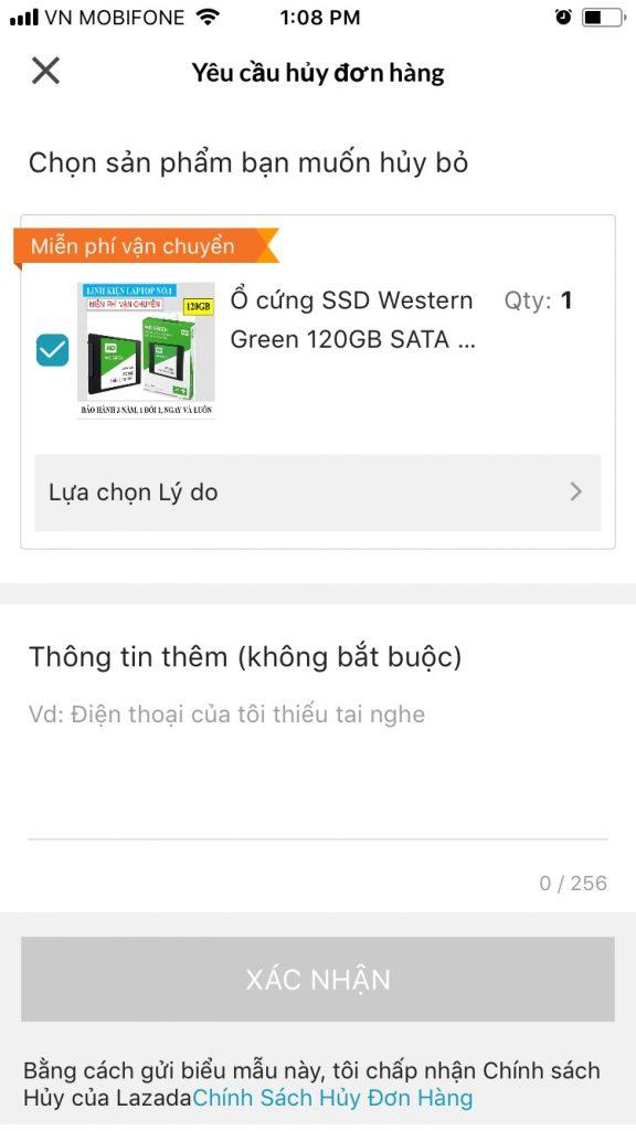 Hướng dẫn mua sắm trên Lazada App yêu cầu hủy bỏ đơn hàng