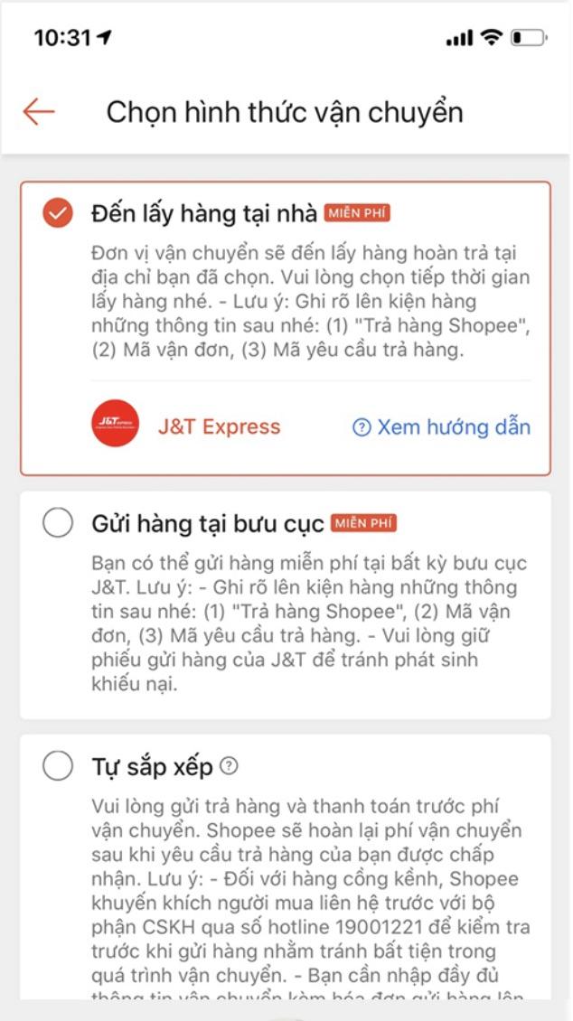 Các lựa chọn trả hàng của Shopee