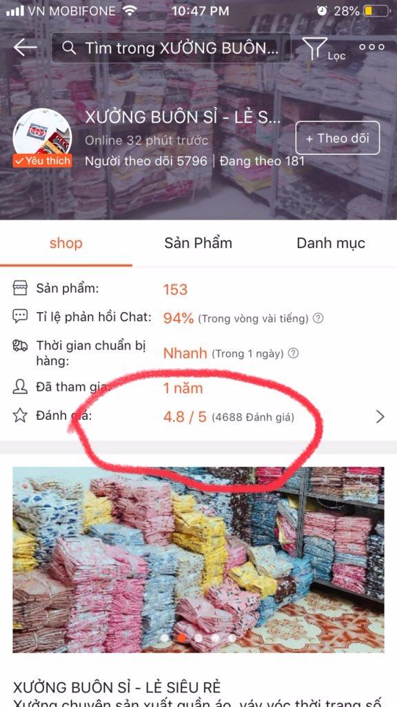 Mẹo mua sắm trên Shopee kiểm tra đánh giá Shop