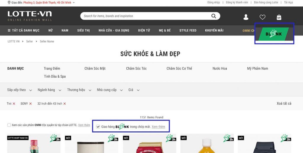 Tìm kiếm sản phẩm Lotte Blink trên Lotte.vn