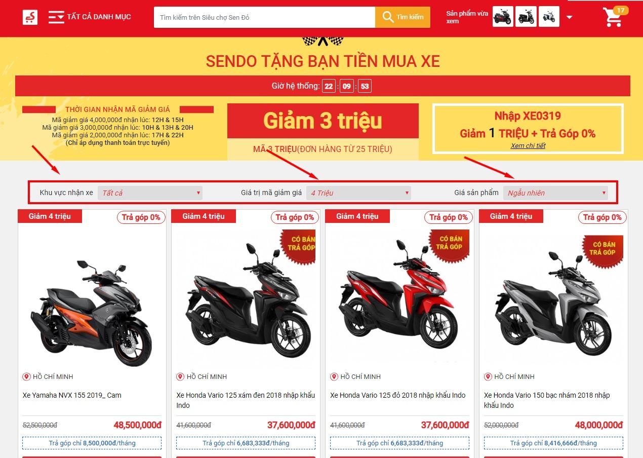 Hướng dẫn mua xe máy Online trên Sendo, chọn mã giảm giá