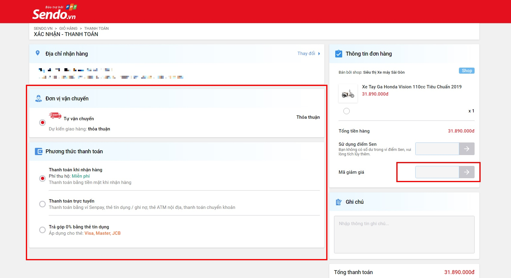 Hướng dẫn mua xe máy Online trên Sendo, nhập mã giảm giá và chọn phương thức thanh toán