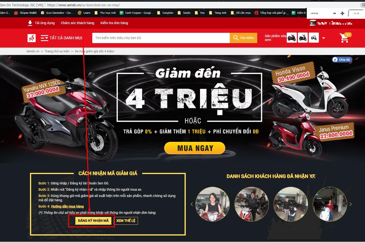 Hướng dẫn mua xe máy online trên Sendo cùng mã giảm giá
