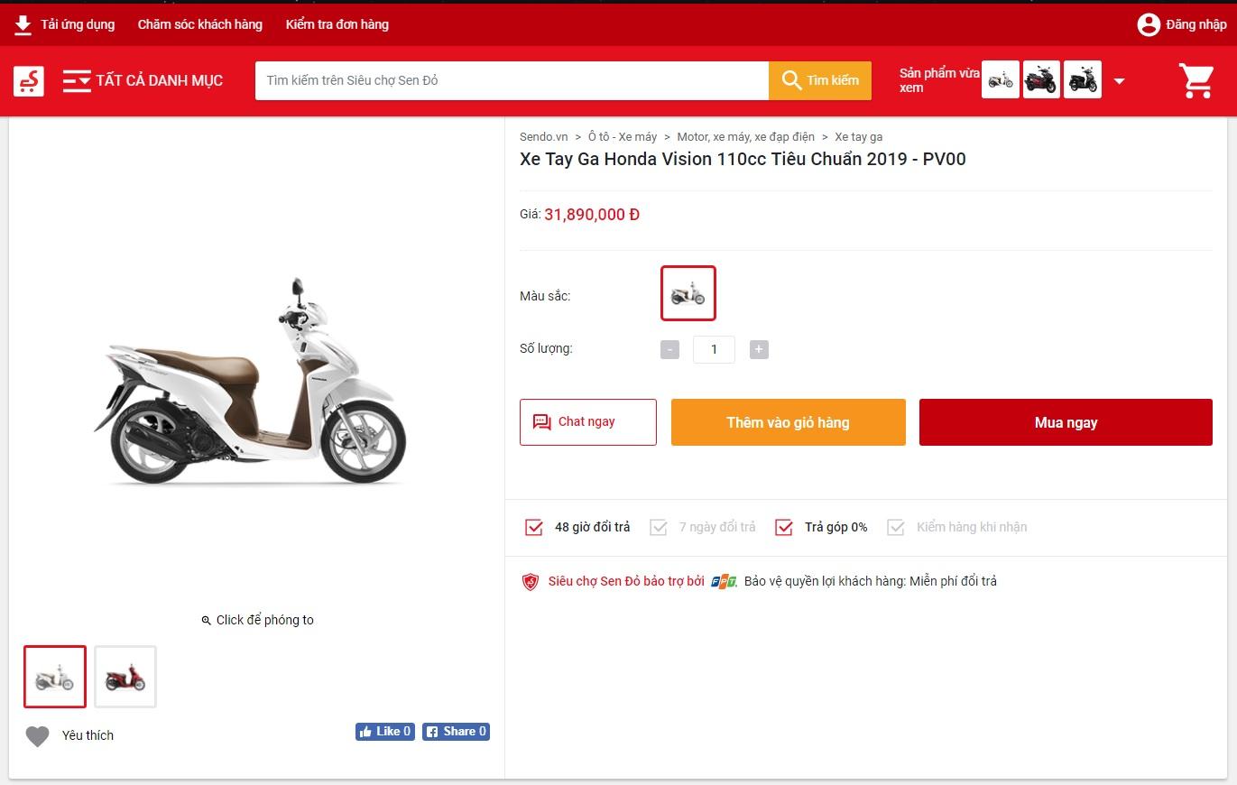 Hướng dẫn mua xe máy Online trên Sendo bấm nút Mua ngay