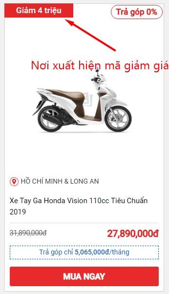 Hướng dẫn mua xe máy online trên Sendo và vị trí xuất hiện mã giảm giá