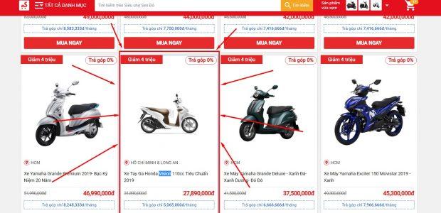 Hướng dẫn mua xe máy online giảm giá trên Sendo