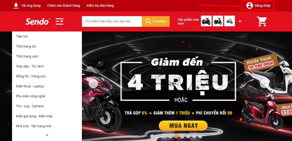 Hướng dẫn mua xe máy online Sendo đăng nhập trên Sendo
