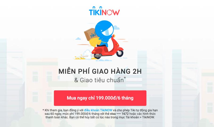 Gói đăng ký TikiNOW 6 tháng