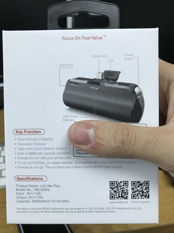 Pin sạc dự phòng cho iPhone model iWalk 5000mAh Link Me Plus DBL5000L