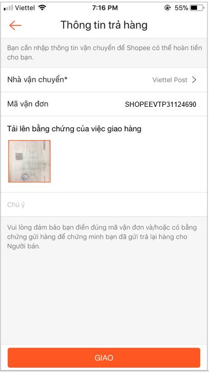 Bằng chứng đã gửi trả hàng Shopee