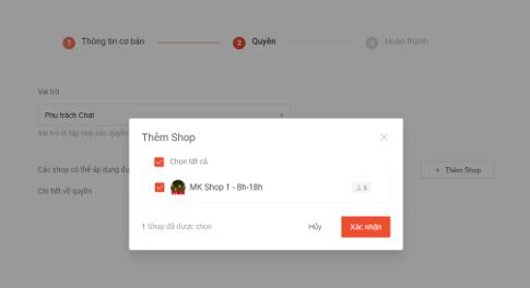 Chọn Shop mà tài khoản phụ vừa tạo