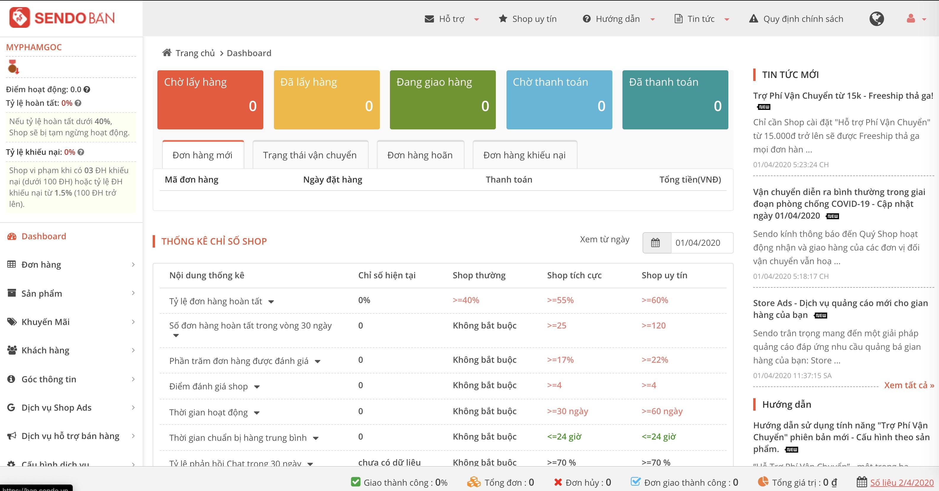 Hướng dẫn đăng ký tài khoản bán hàng Sendo