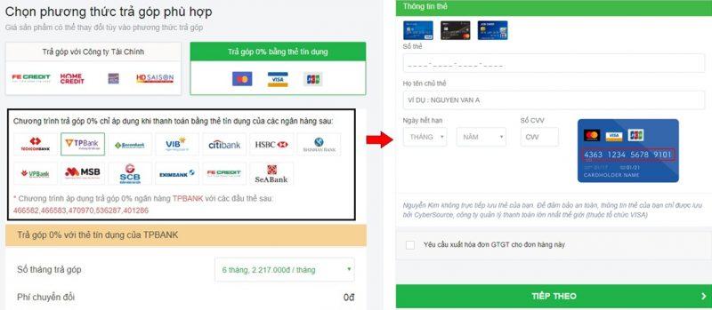 Hướng dẫn mua sắm Nguyễn Kim thanh toán trả góp 0% thẻ tín dụng