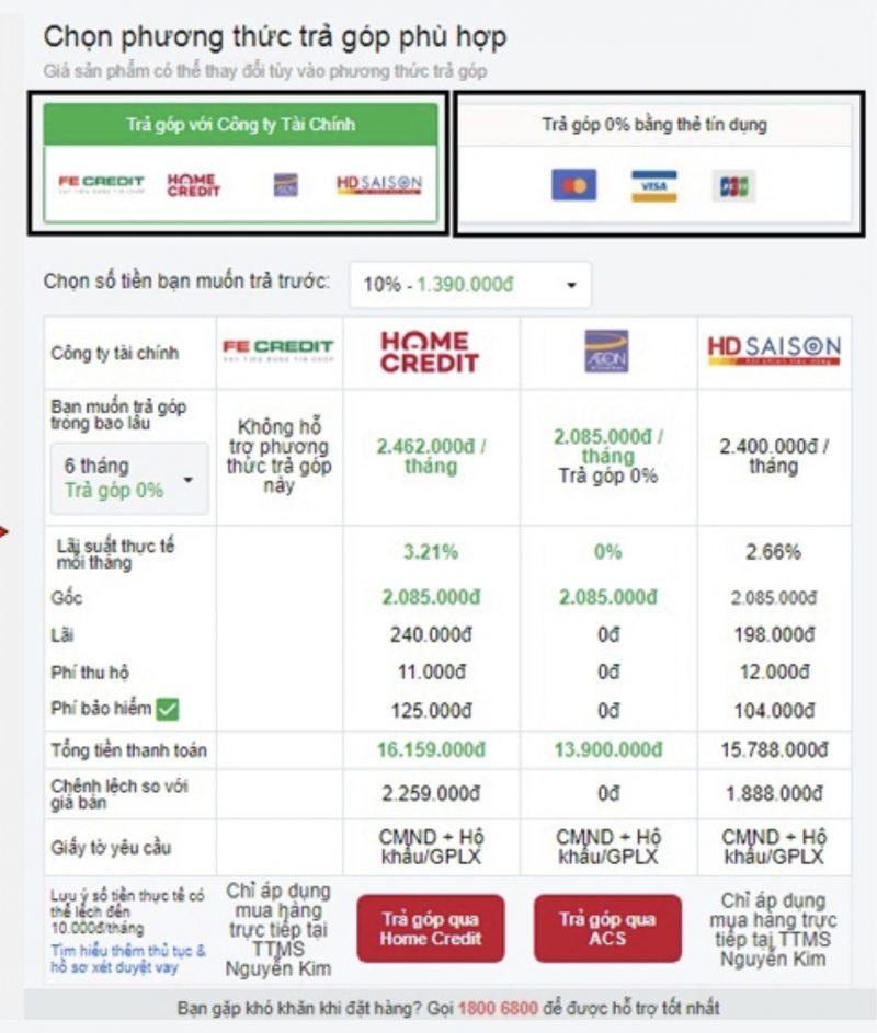 Hướng dẫn mua sắm Nguyễn Kim phương thức trả góp 0%