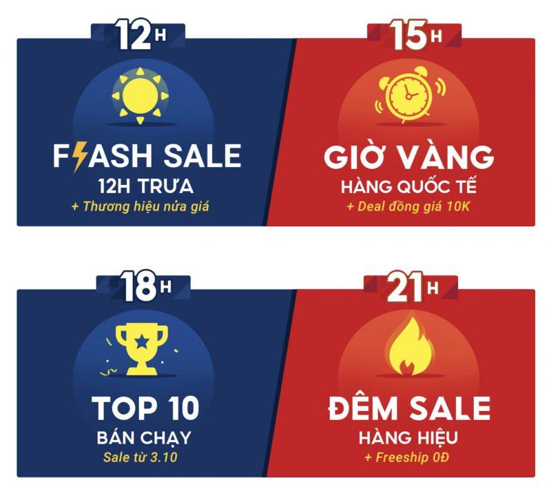 Shopee 10/10 siêu sale mỗi ngày, mỗi giờ
