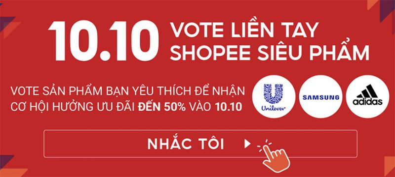 Shopee 10/10 siêu sale vote liền tay nhận ngay voucher khủng