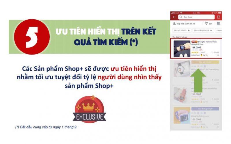 Hướng dẫn bán hàng Sendo, Shop+ được ưu tiên hiển thị tìm kiếm.
