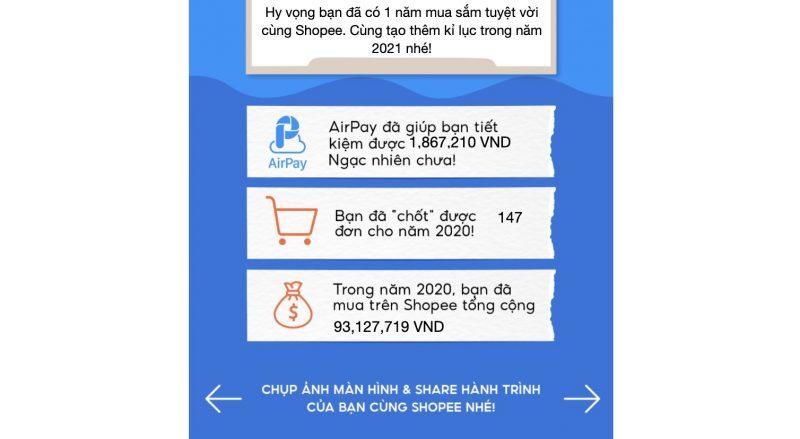 Tổng tiền mua hàng mà bạn đã sử dụng trên Shopee