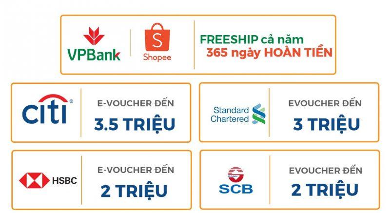 Ưu đãi mở thẻ tín dụng ngân hàng Shopee