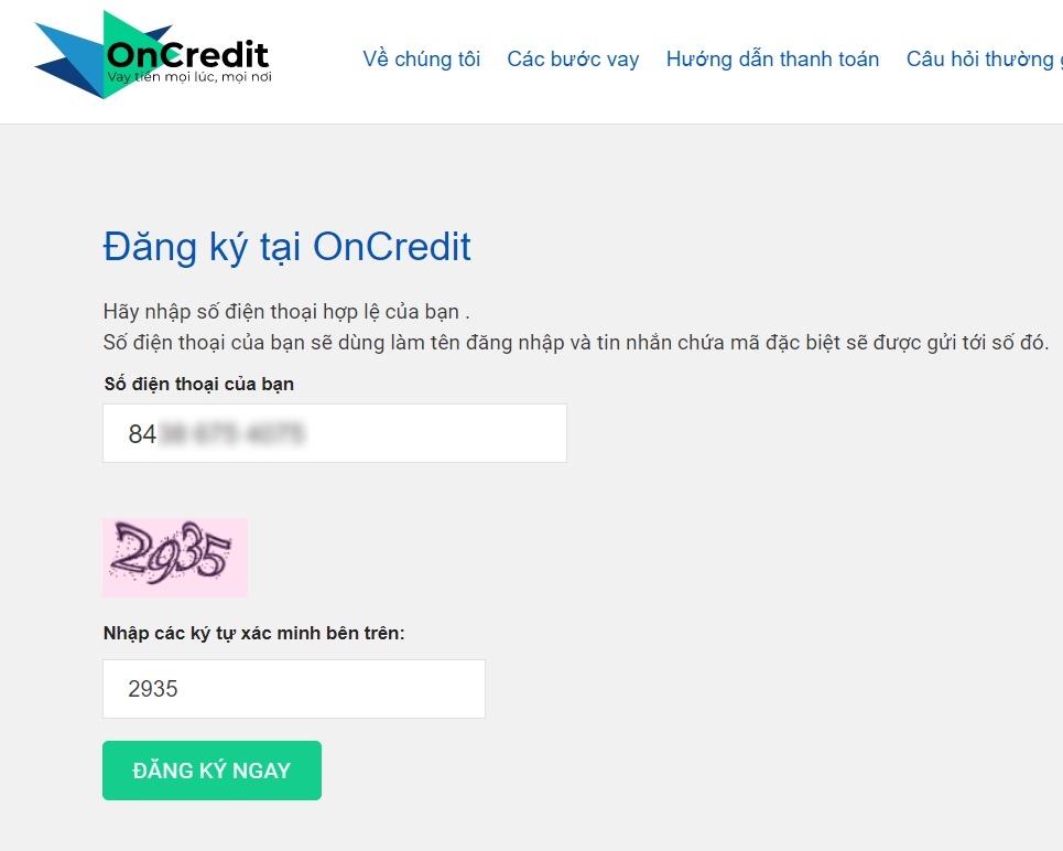 Hướng dẫn vay tiền online OnCredit