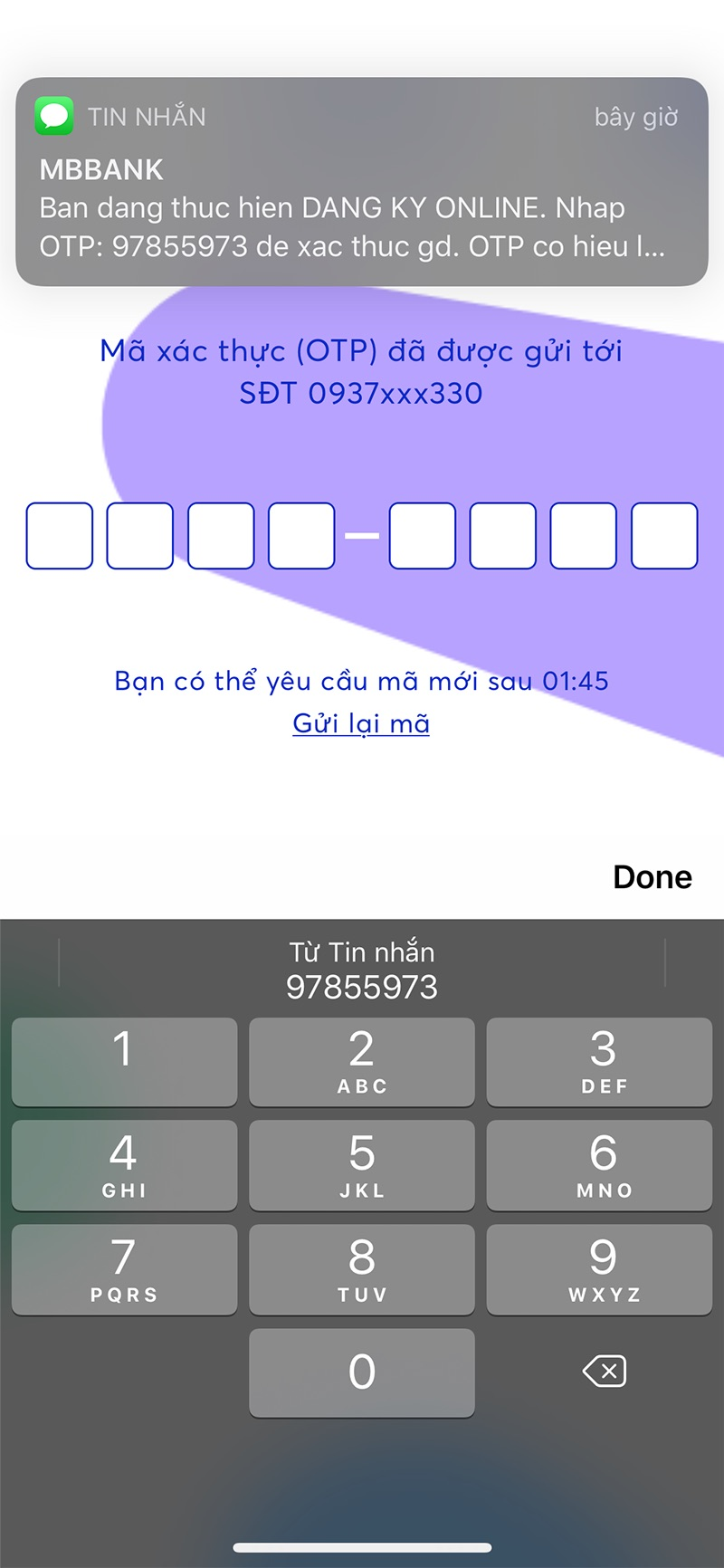 Xác thực số điện thoại MBBank