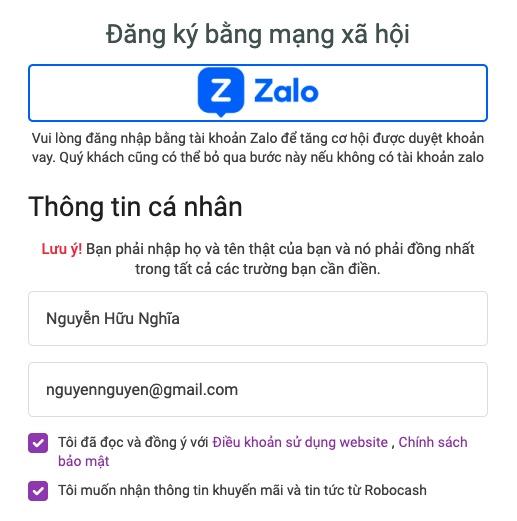 Đăng ký thông tin vay qua Zalo hoặc điền thông tin cá nhân