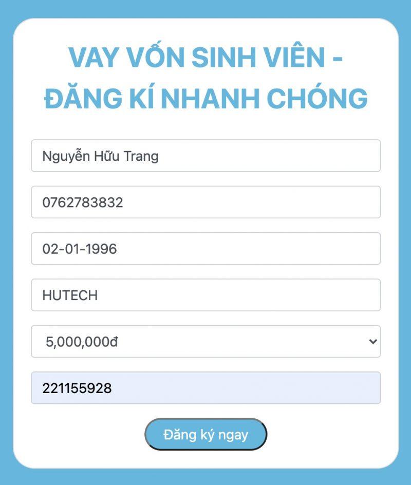Hướng dẫn vay tiền Uniloan, điền thông tin vay.