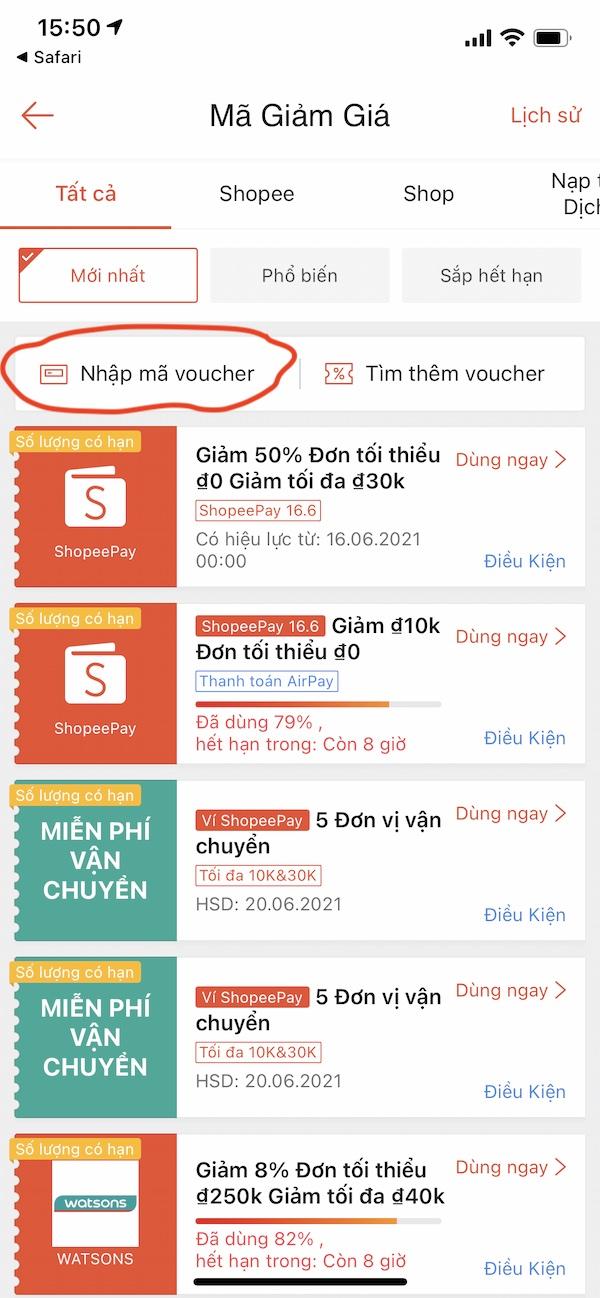 Shopee Ví Voucher MGG.VN