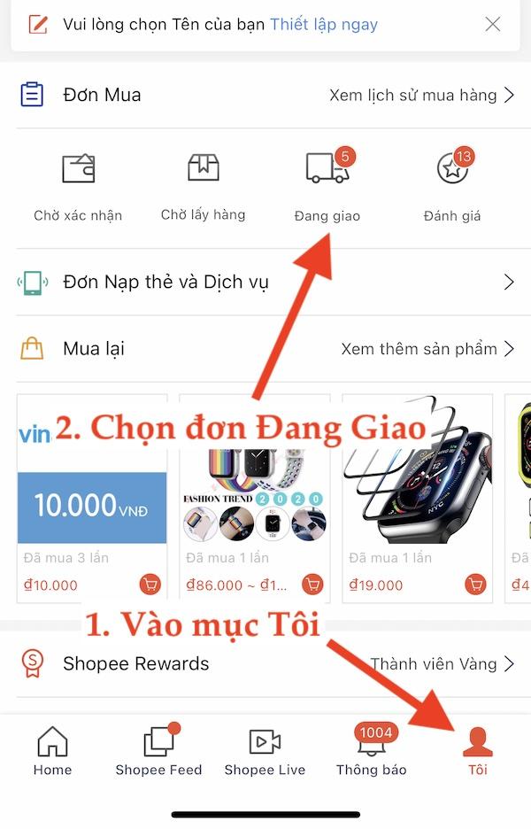 Hướng dẫn trackding đơn Shopee. Chọn mục Tôi -> Đơn đang giao Shopee App
